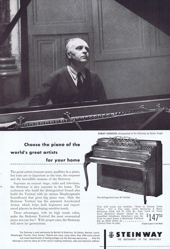 1952 Steinway Piano by Adrian Siegel with Robert Casadesus or Travel to Mexico Original Vintage Advertisements