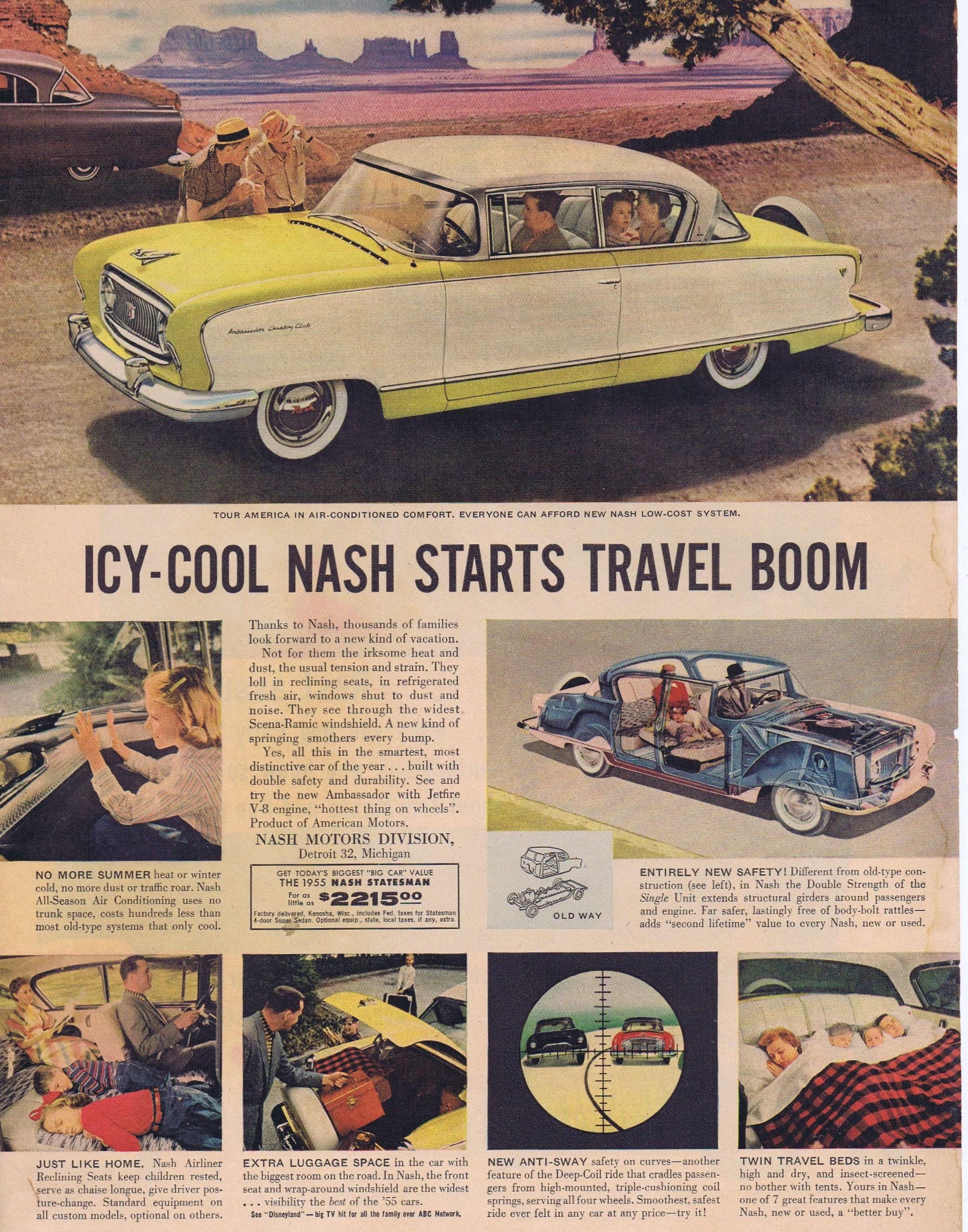 1955 Nash Automobile Original Vintage Advertisement Icy-Cool Car Starts  Travel Boom Unique
