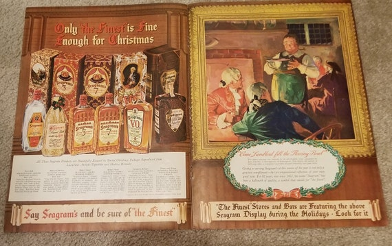 1939 Seagram's Whiskey and Gin Unique Giant Double-Page Original Vintage Christmas Advertisement with Old-Time Painting