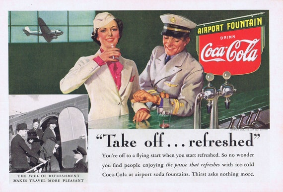 1938 Airport Fountain with Captain and Flight Attendant Very Neat Old Original Vintage Advertisement