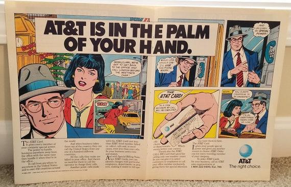 Superman and Clark Kent AT&T Card Double Page Comic Art Original 1986 Vintage Advertisement