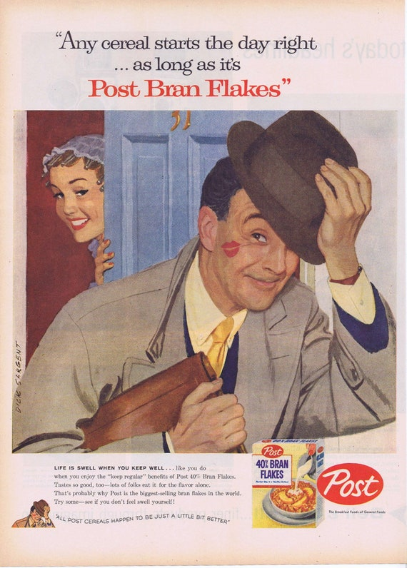 1957 Post Bran Flakes Happy Husband Original Vintage Advertisement with Dick Sargent Art