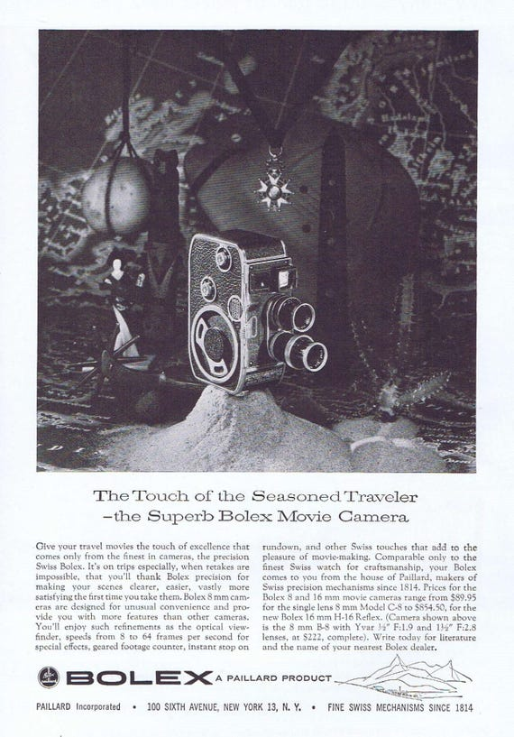 Bolex 8mm 1957 Movie Camera Original Vintage Ad for Seasoned Traveler