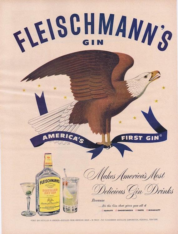 1951 Fleischmann's America's First Gin Original Vintage Advertisement with Eagle