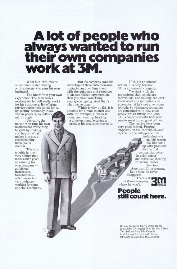 1972 3M Company People Still Count Here Original Vintage Advertisement