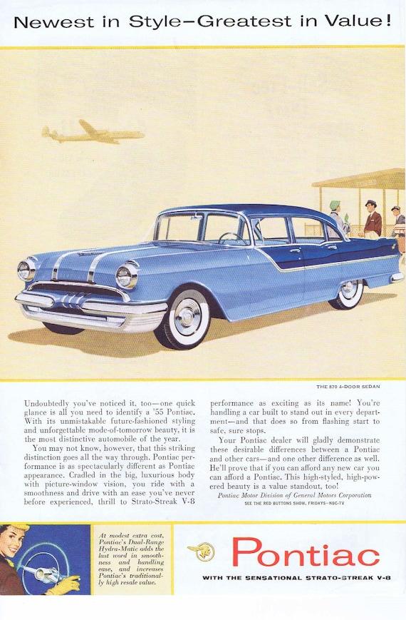 1955 Blue Pontiac Sedan Original Automobile Vintage Advertisement