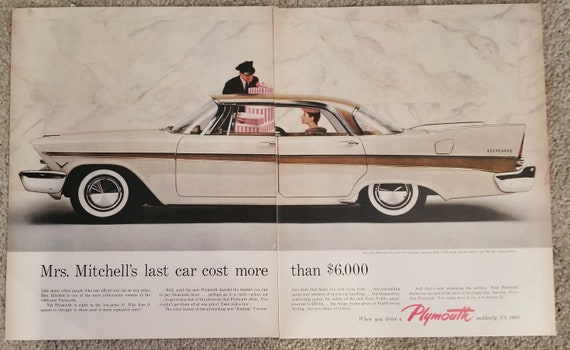 1960 Plymouth Automobile Unique Double-Page Original Vintage Advertisement with Happy Mrs. Mitchell and Beautiful Big Car