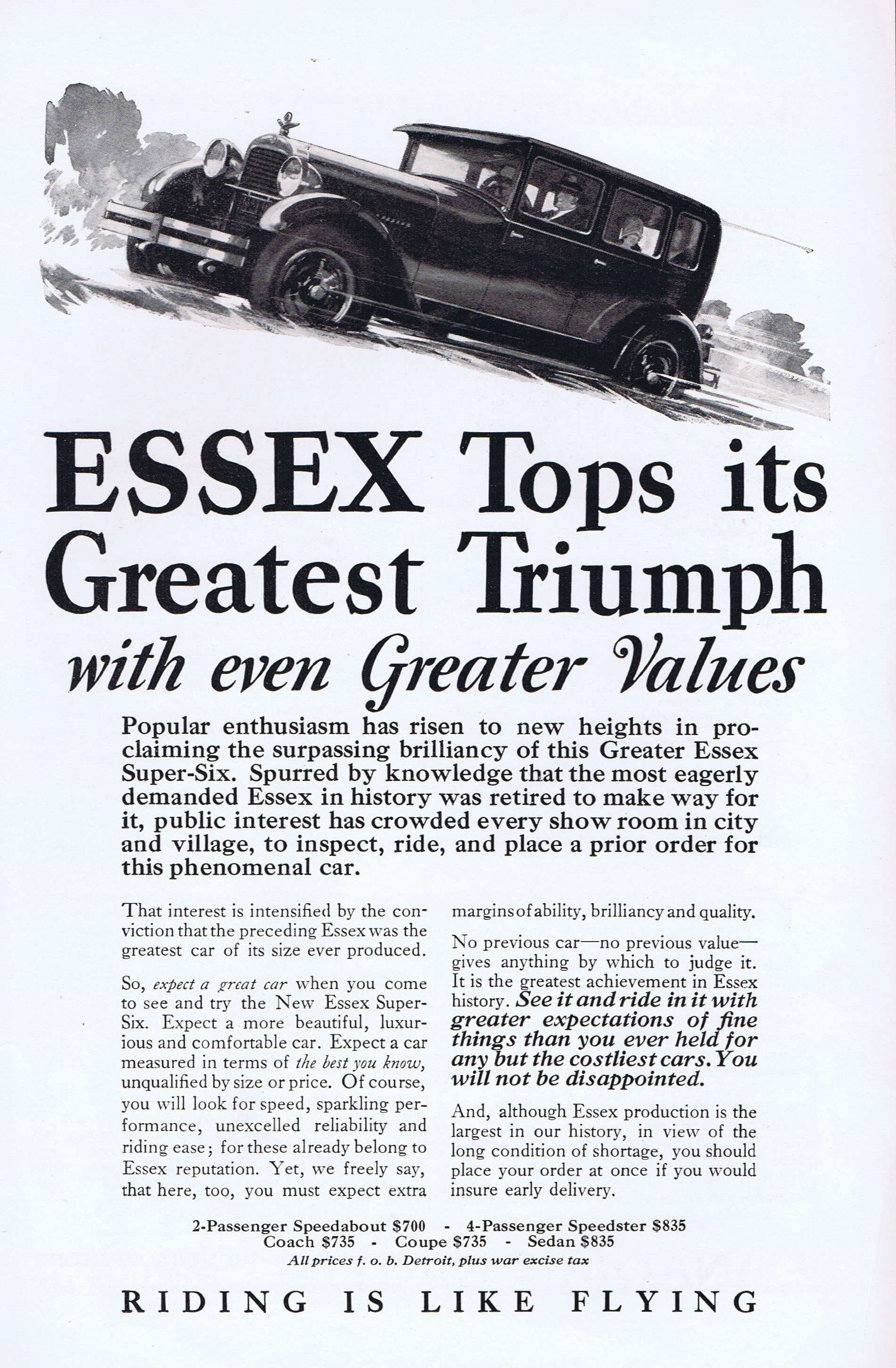 Old Car Values >> Old Essex Sedan Car In 1927 Advertisement Riding Is Like Flying
