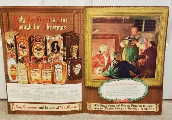 1939 Seagram's Whiskey and Gin Unique Double Page Vintage Christmas Ad with John Fletcher Come Landlord Fill the Flowing Bowl Painting
