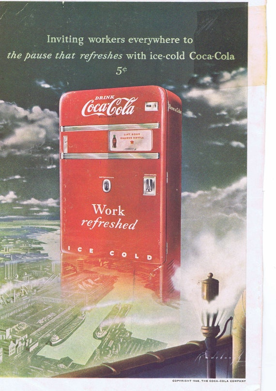 Old Coke Vending Machine or Matson Cruise to Hawaii 1949 Ad