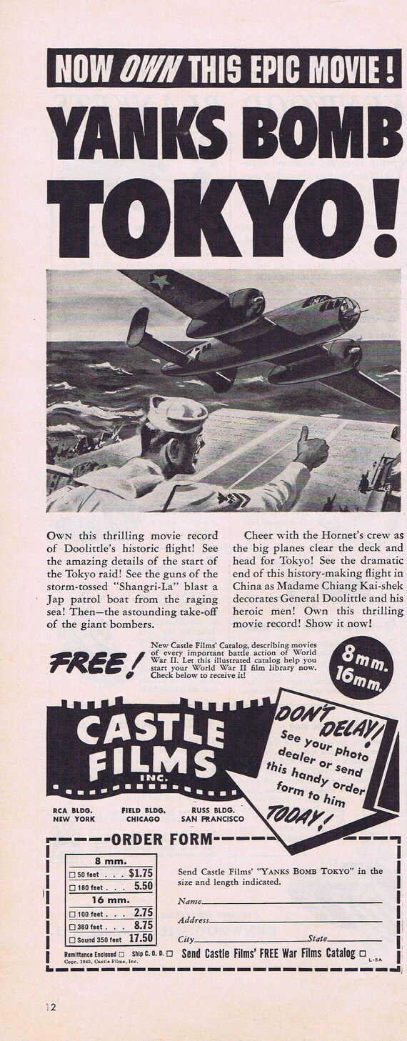 WW2 Yanks Bomb Tokyo Castle 8 or 16mm Film or Kenwood Blankets Original Vintage Advertisement