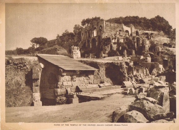 1918 Ruins of the Temple of the Deified Julius Caesar Sepia Tone Magazine Photo with Bonus Information Page