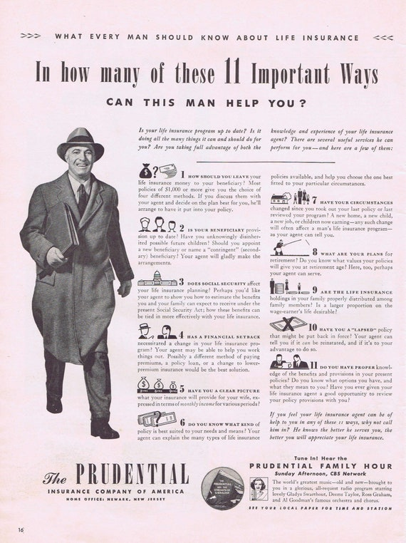 1942 Prudential Insurance Agent and 11 Ways He Can Help You Original Vintage Advertisement