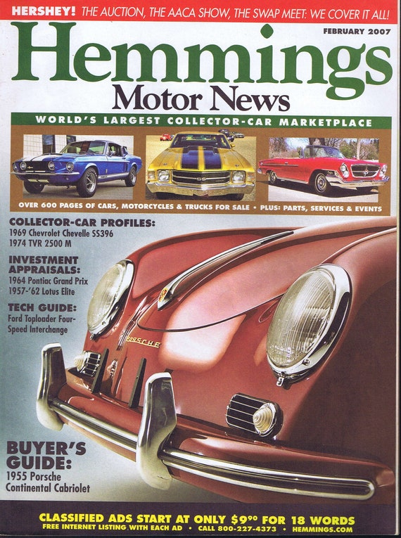 Hemmings Motor News Magazine February 2007 1955 Porsche Continental Cabriolet Photo Cover Free Shipping