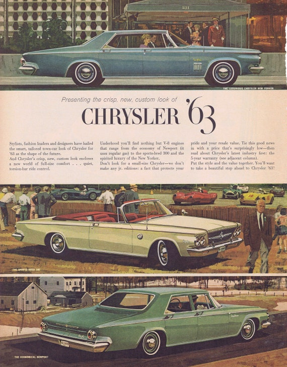 1963 Chrysler New Yorker, 300 and Newport Cars or Atomic Power Plant Original Vintage Advertisements