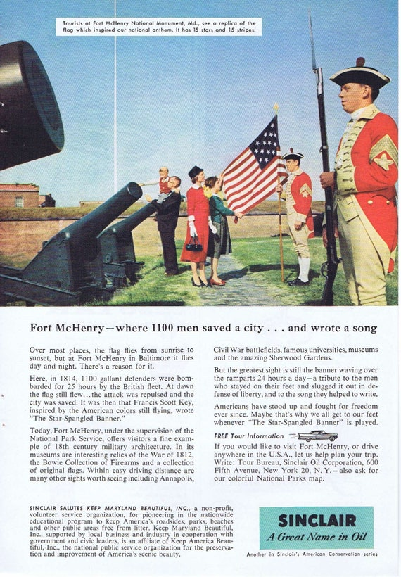 1957 Fort McHenry National Park Salute by Sinclair Oil Original Vintage Advertisement