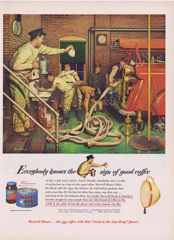 1949 Maxwell House Coffee Original Vintage Advertisement with Firemen and Promo for Father Knows Best TV Show Starring Robert Young