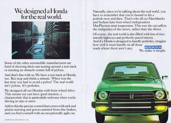 1979 Honda Civic Unique Double-Page Original Vintage Automobile Advertisement