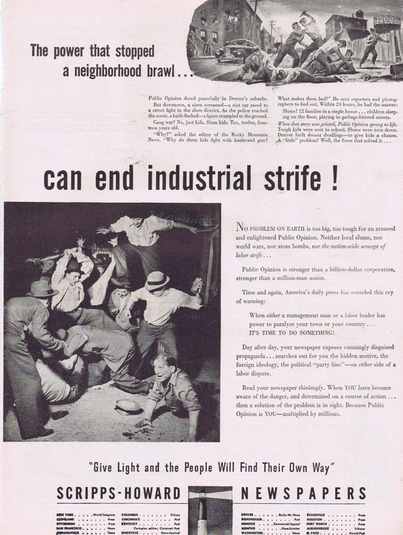 1946 Time to End Industrial Strife and Scripps-Howard Newspapers or Jeris Hair Tonic Dandruff Snow Man Original Vintage Advertisement