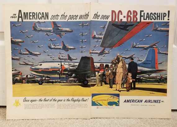 1951 American Airlines DC-6B Flagship Airplane Unique Double Page Original Vintage Advertisement