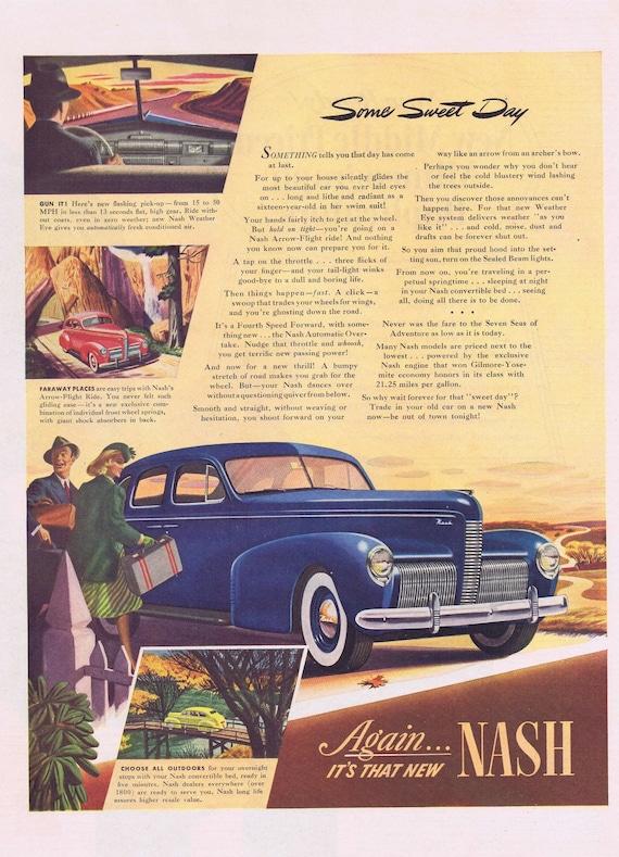 1939 Blue Beautiful Nash Sedan Automobile Some Sweet Day Original Advertisement Neat Vintage Art