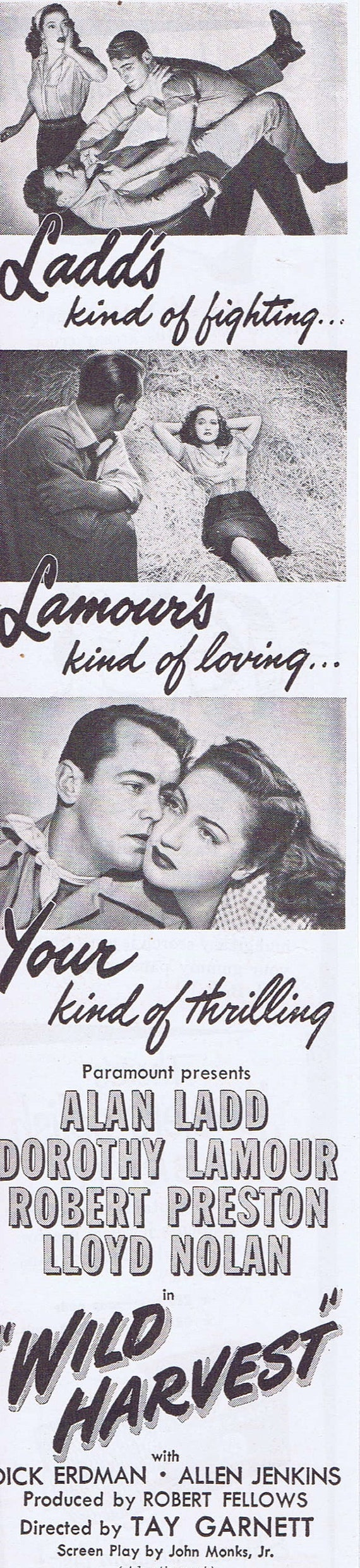 Alan Ladd in Wild Harvest 1947 Original Vintage Small Movie Advertisement with Dorothy Lamour