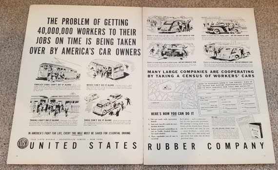 WW2 1942 Getting 40,000,000 Workers to Their Jobs United States Rubber Company Double-Page Vintage Advertisement Salute
