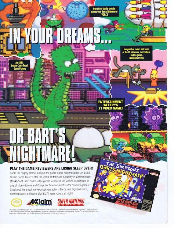 The Simpson's Bart's Nightmare Super Nintendo Video Game Original 1993 Advertisement