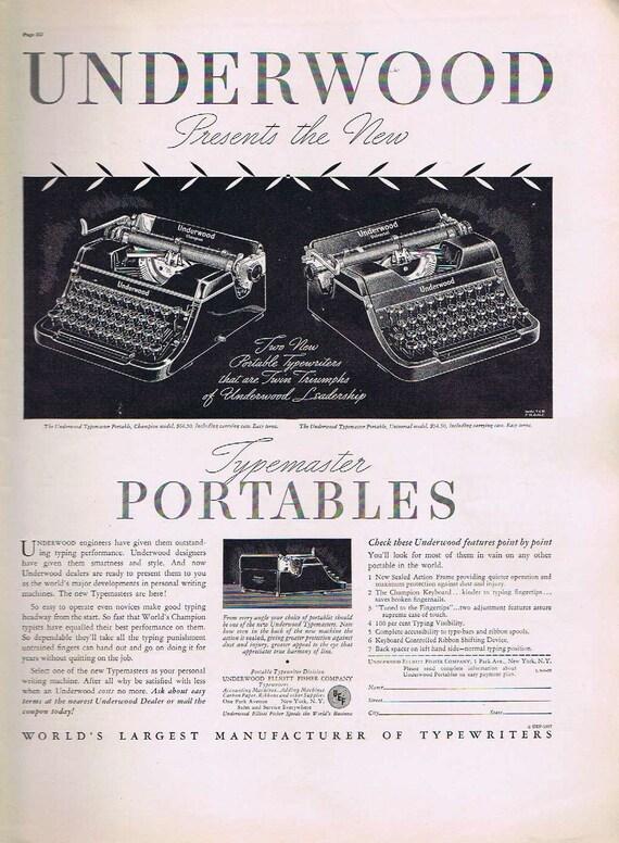 Underwood Portable Typewriter 1937 Original Vintage Advertisement