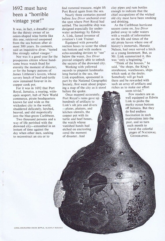 1968 National Geographic Society Ad with 1692 Coral-Encrusted Onion Bottle