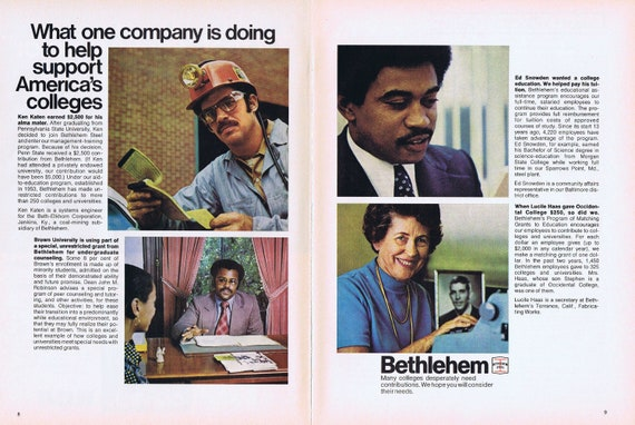How Bethlehem Steel Is Helping Support American Colleges 1975 Double-Page Advertisement