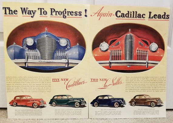 1940 Cadillac and LsSalle Automobiles Unique Double Page Original Vintage Advertisement Great Grill Views and Awesome Cars