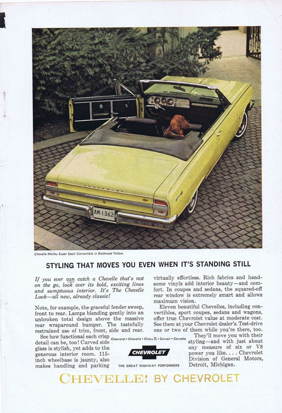 1964 Chevelle Malibu Super Sport Convertible or Gravely Ultimate Westchester Lawn Mower Original Vintage Advertisements