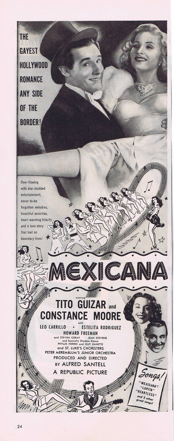 Mexicana 1945 Vintage Movie Ad with Tito Guizar and Constance Moore