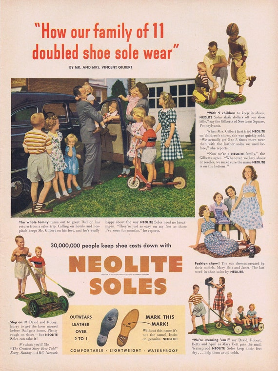 1949 Shoes and Family of 11 Neolite Soles or Hi Ho Crackers by Sunshine Biscuits Original Vintage Advertisement