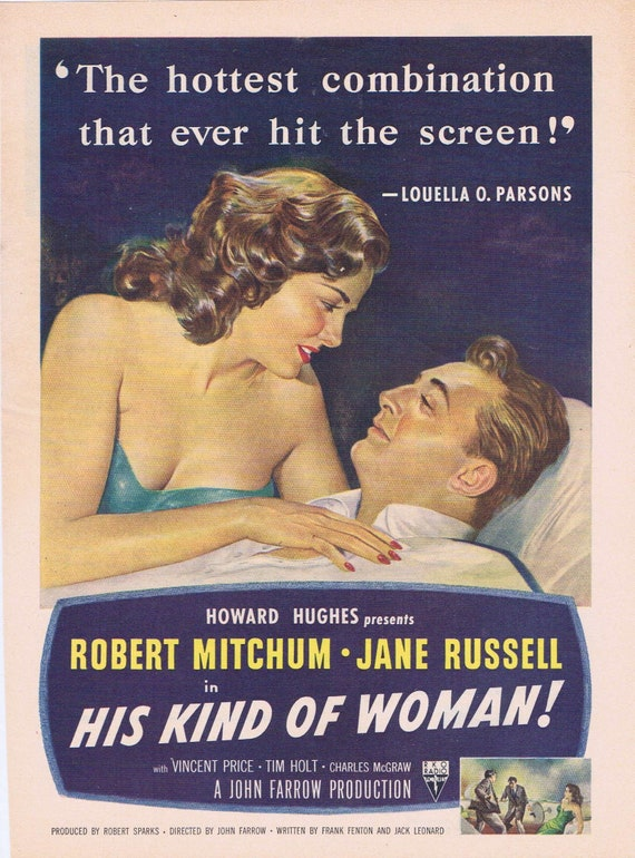 Robert Mitchum and Jane Russell His Kind of Woman 1951 Old Movie Advertisement