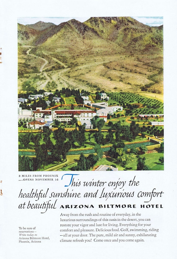 1952 Arizona Biltmore Hotel Grand Opening in Phoenix or Sinclair Oil and American Airlines Original Vintage Advertisements
