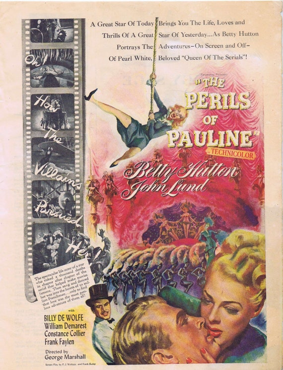 Betty Hutton The Perils of Pauline  1947 Old Movie Ad