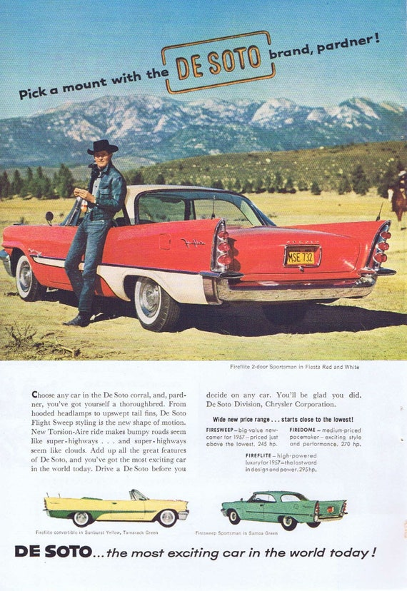 1957 De Soto Fireflite Fiesta Red and White Automobile Vintage Ad with Cowboy by Mountain