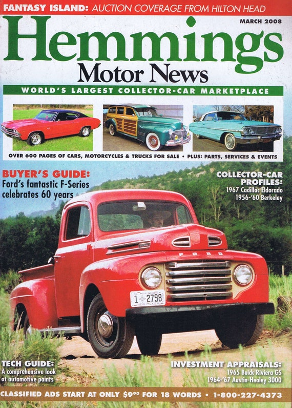 Hemmings Motor News Magazine March 2008 Old Red Ford Truck Photo Cover Free Shipping