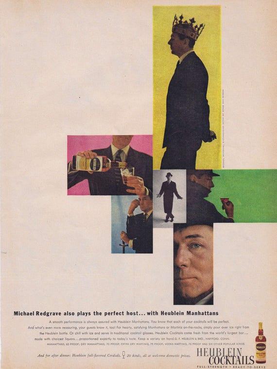 1957 Heublein Cocktails with Actor Michael Redgrave Unique Photos Original Vintage Ad
