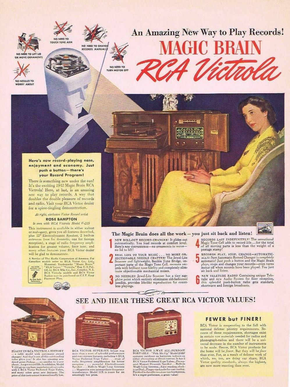 1942 RCA Magic Brain Victrola Record Player Vintage Ad with Rose Bampton