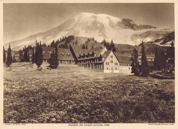 1918 Paradise Inn at Mt Rainier National Park Sepia Tone Magazine Photo with Bonus Information