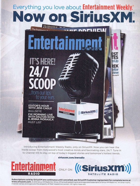 Entertainment Weekly on Sirius XM Satellite Radio 2013 Original Advertisement Free Shipping