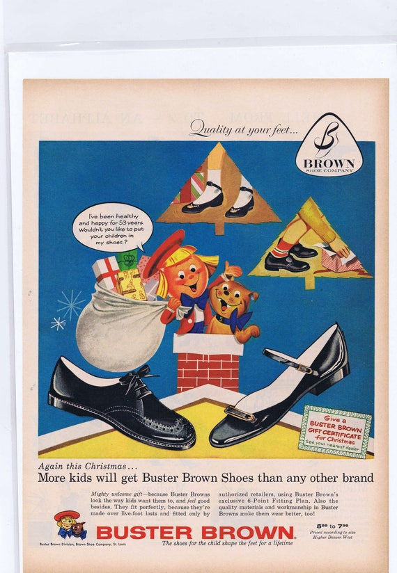 1957 Buster Brown Shoes Original Christmas Vintage Ad with Buster Brown Boy and Dog Tige