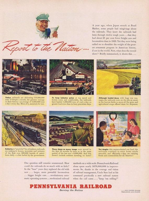 1942 Pennsylvania Railroad WW2 Report to the Nation Original Vintage Ad