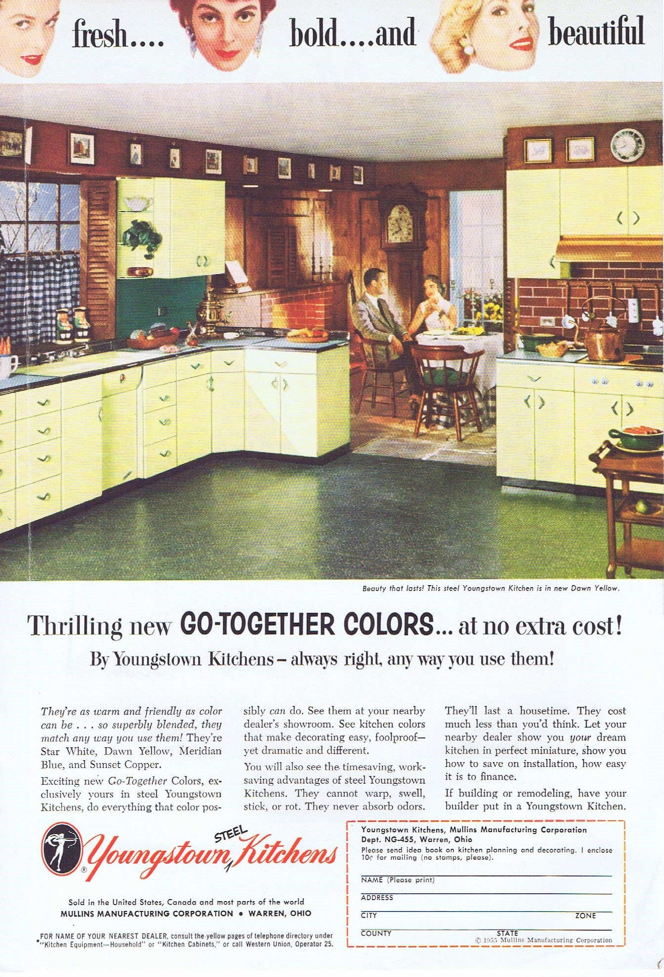 1955 Youngstown Steel Kitchen Cabinets Original Vintage Ad In Dawn Yellow Color