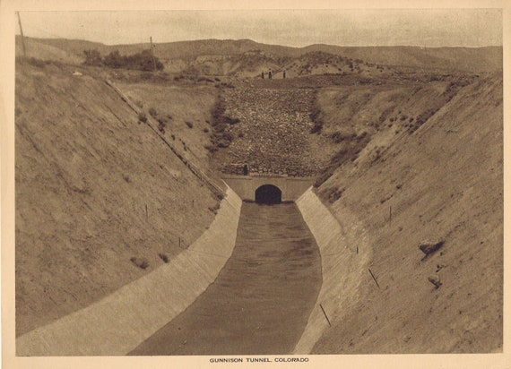 1918 Gunnison Tunnel, Colorado Sepia Tone Magazine Photo with Information Page