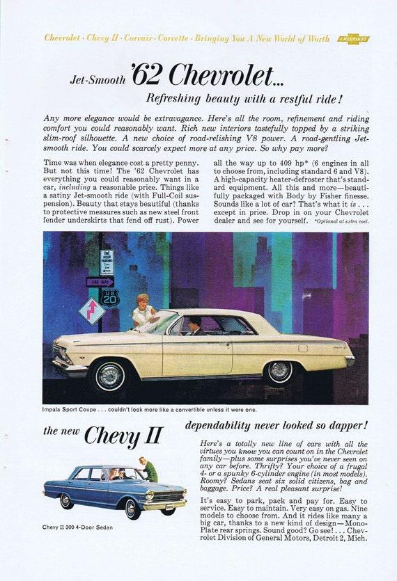 1962 Chevrolet Impala Sports Coupe and Chevy II Sedan Original Vintage Automobile Advertisement