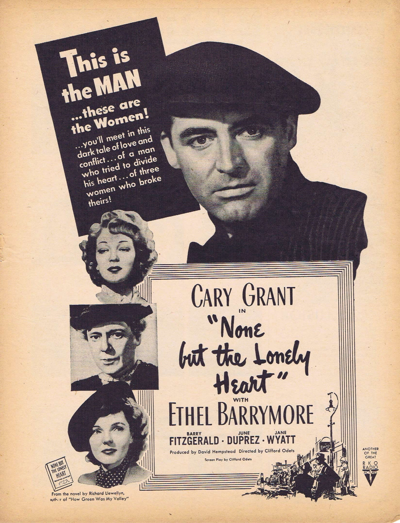 45a2f2e85 None But the Lonely Heart 1944 movie ad, Cary Grant and Ethel Barrymore